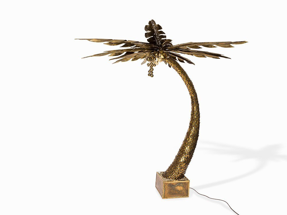 Maison Jansen, Monumental Palm Tree Lamp, France, 1970s