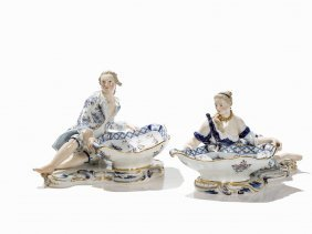 Meissen, 2 Spice Bowls With Lady & Cavalier, Onion