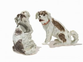 Meissen, A Pair Of Bolognese Dogs, Porcelain, 18th C.
