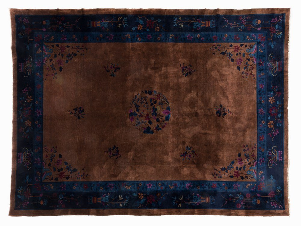 Rug with a Fine Flower Pattern in Blue and Red, China