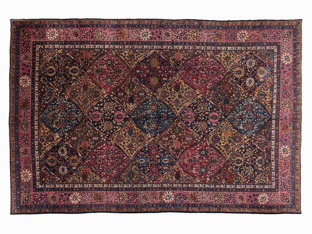 Persian Lawer Rug with an Ornamental, Floral Décor,