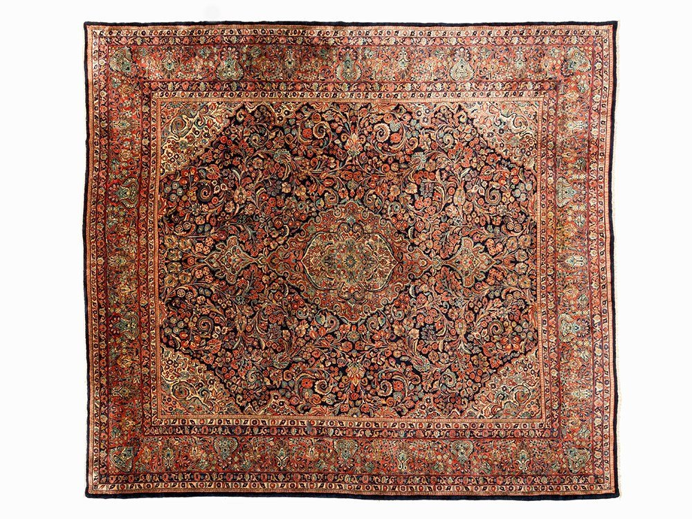 Persian Sarouk Mohajeran Rug with a Floral Décor, 20th