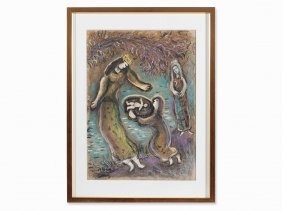 Marc Chagall, Color Lithograph, Discovery Of Moses,