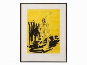 Georg Baselitz, Painter In Coat (remix), Etching, 2006