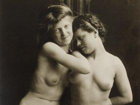 Frantisek Drtikol, 'two Female Nudes', Signed Verso,