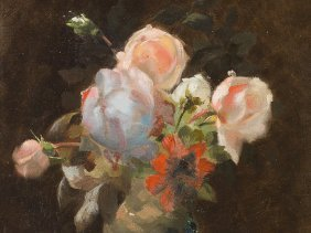 """Oil Painting """"still Life With Roses"""", France, 1894"""