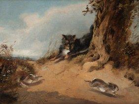 Wilhelm Meyerheim Attr., Oil Painting, Hare Hunting