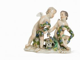 Meissen, Group Of Figures With Two Putti, Porcelain,