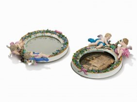 Meissen, pair Of Wall Mirrors With Cupids, 2nd H. 19th