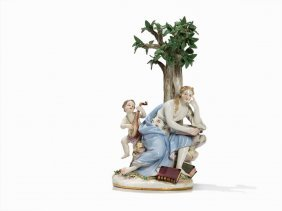 Meissen, 'calliope With Playingcupid', Late 19th C.