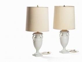Kpm, Pair Of French Vases Mounted As Lamps, 20th C.