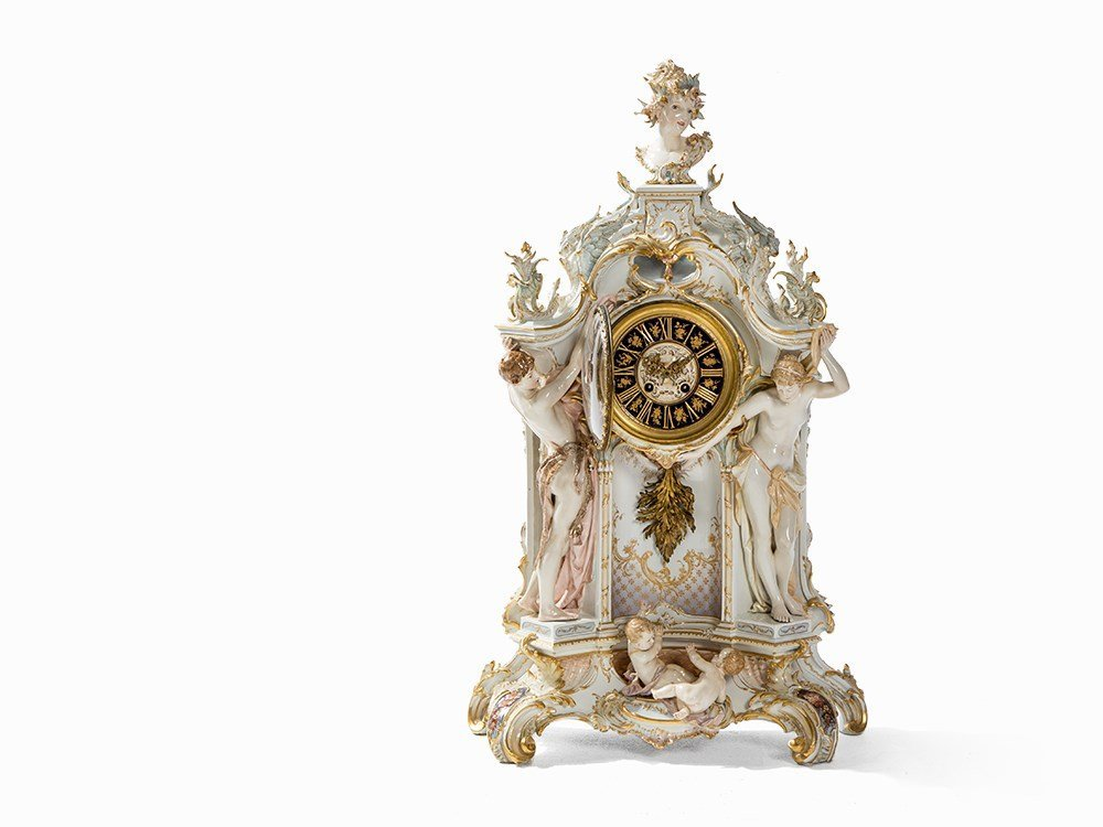 Paul Schley, Large Mantle Clock Weichmalerei, KPM,