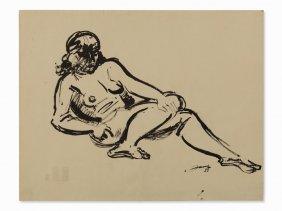 Walter Jacob (1893-1964), Female Nude, India Ink, 1950