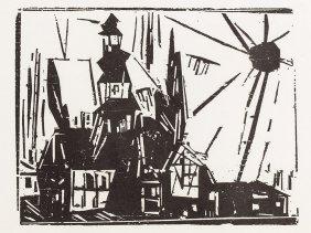 Lyonel Feininger, Hansa Fleet, Troistedt, Woodcut,