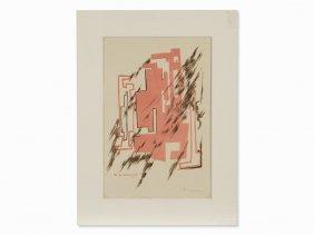 Mikhail Larionov, Komposition, Color Lithograph,