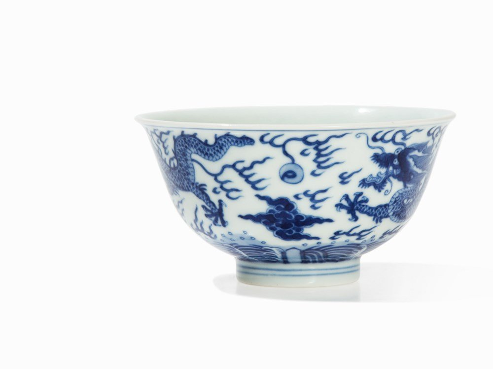 Rare Blue-and-White 'Dragon' Bowl, Qianlong Mark and