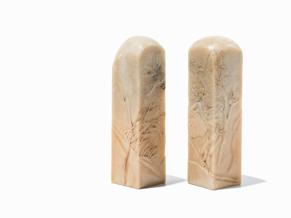 Pair of Shoushan Soapstone Seals with Finely Carved