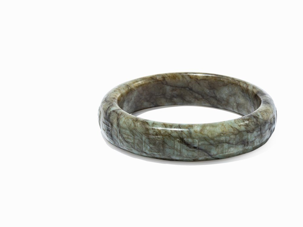 Jade Bangle with Archaic Characters in Low Relief, Ming