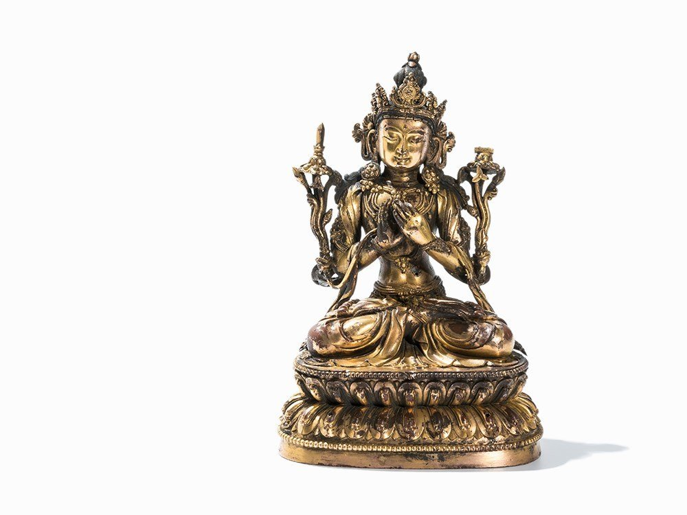 Extremly Rare Gilt-Bronze Figure of Manjusri, Yongle