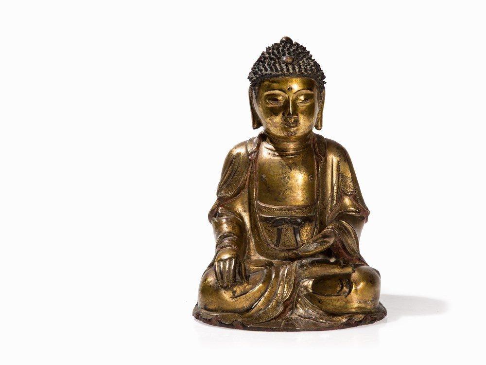 Gilt Bronze Figure of Seated Buddha, Ming Dynasty