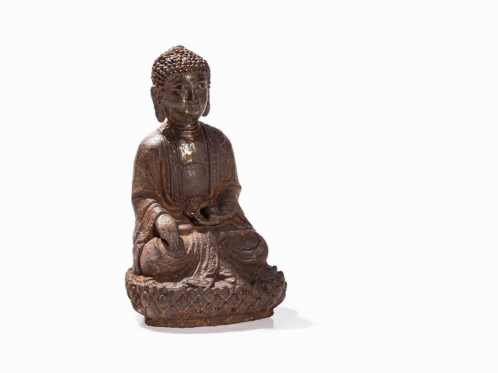 Cast IronFigureofBuddha Amitabha on Lotus Throne,