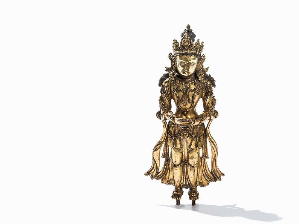 "Rare Gilt-Bronze Figure of ""Red Amitayus"", Yongle"