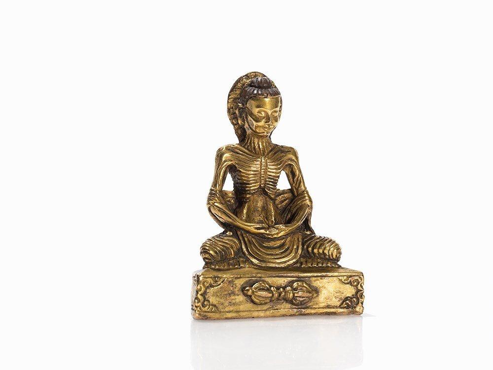 Gilt Bronze Figure of Buddha as Ascetic, Tibet,