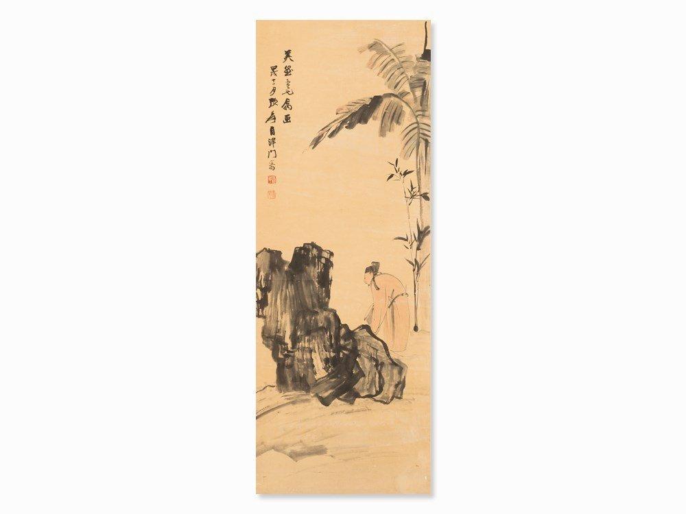 Zhang Daqian, Scroll Painting, Scholar in Garden, dated