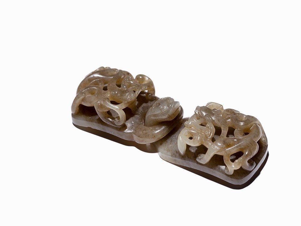 Grey Jade Belt Buckle with Qilong Dragon, Qing Dynasty - 2