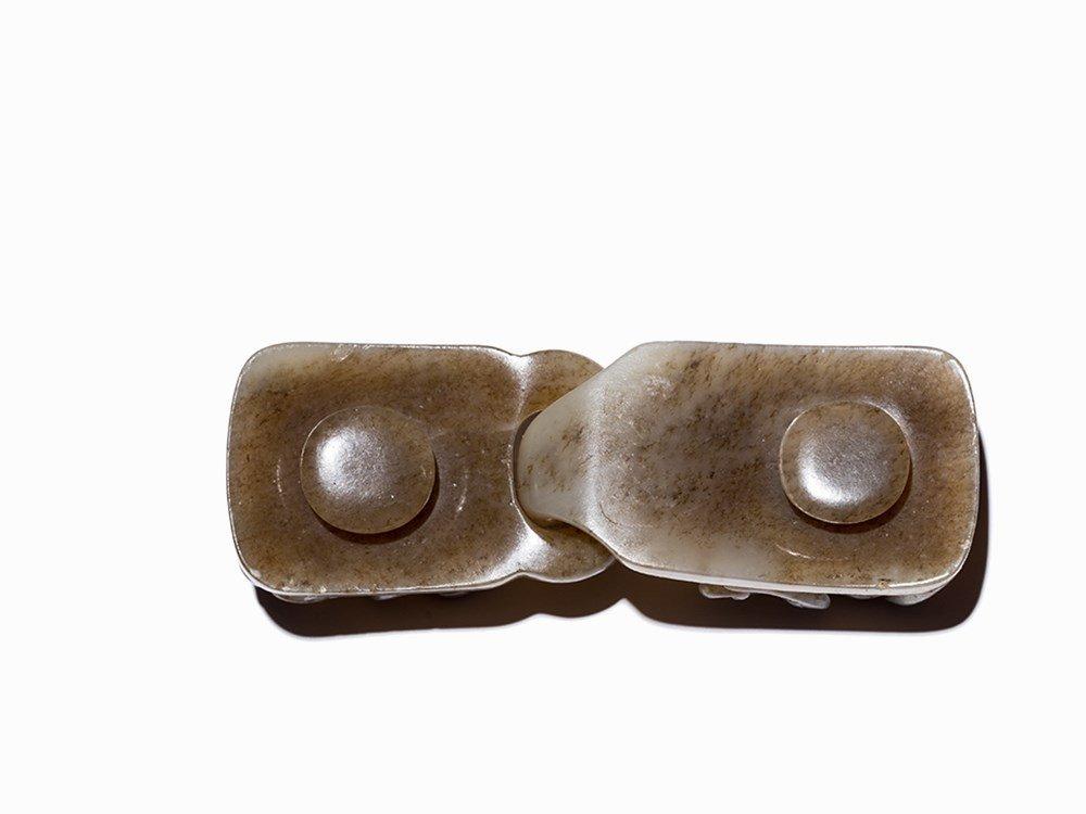 Grey Jade Belt Buckle with Qilong Dragon, Qing Dynasty - 8