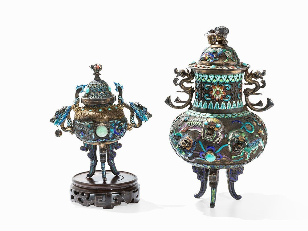 Two Champlevé Censers with Inlays, China, 20th C.