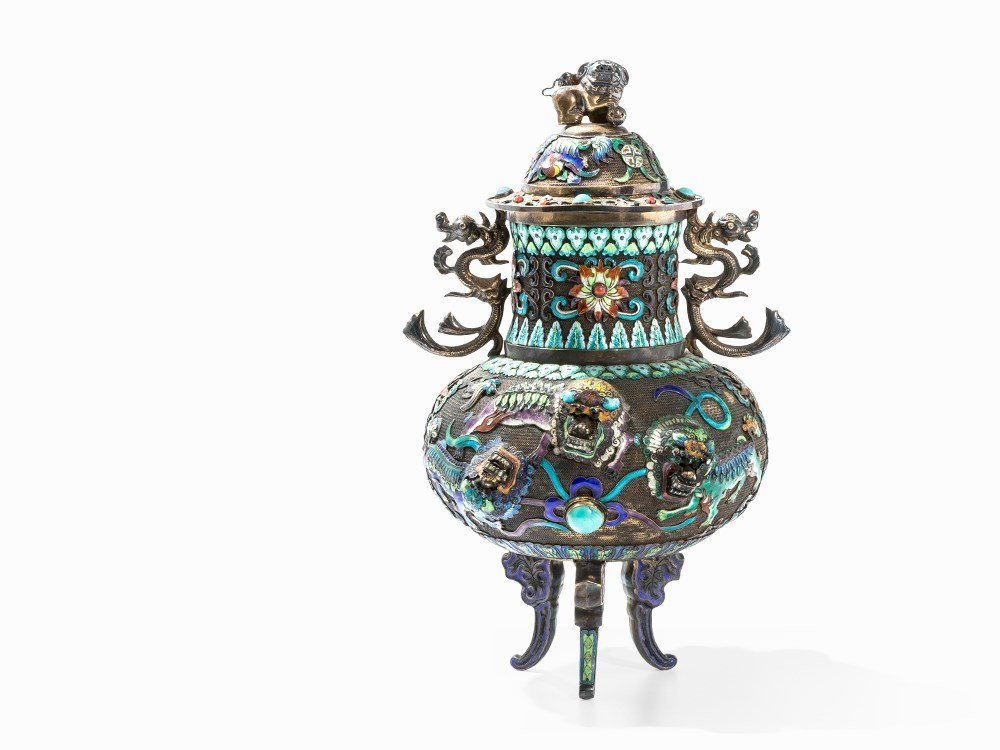 Two Champlevé Censers with Inlays, China, 20th C. - 3