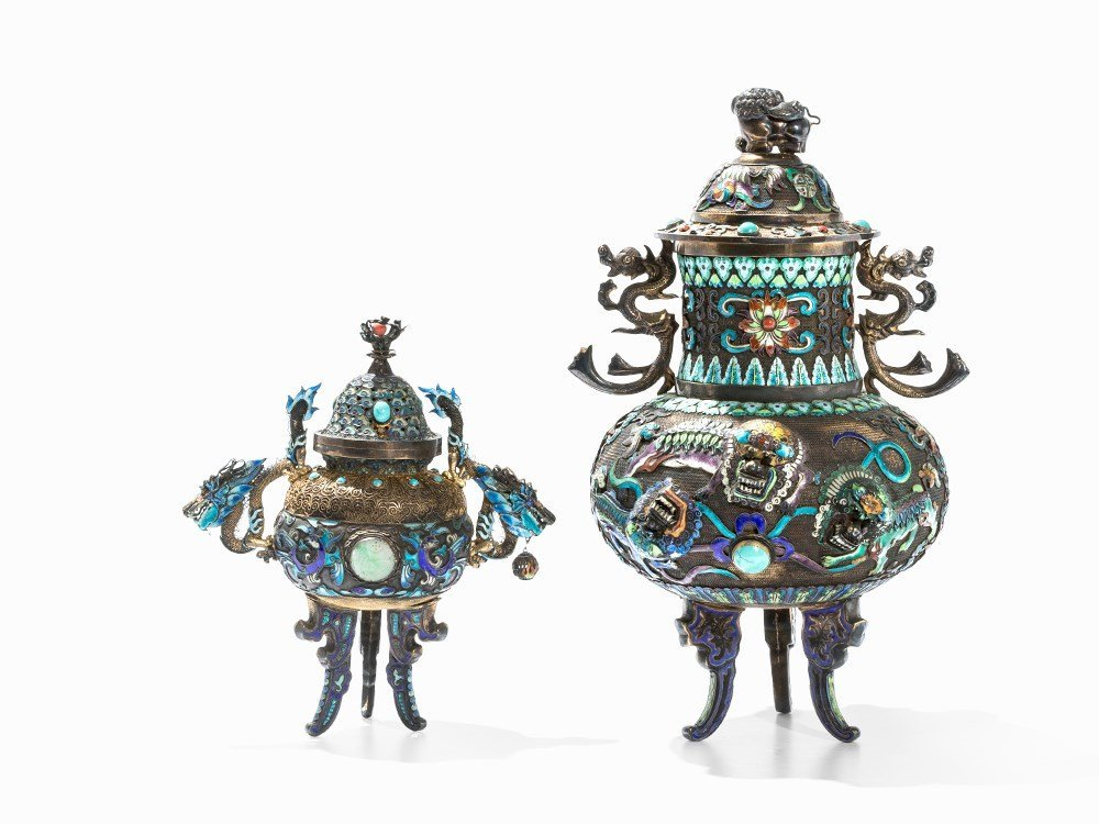 Two Champlevé Censers with Inlays, China, 20th C. - 6