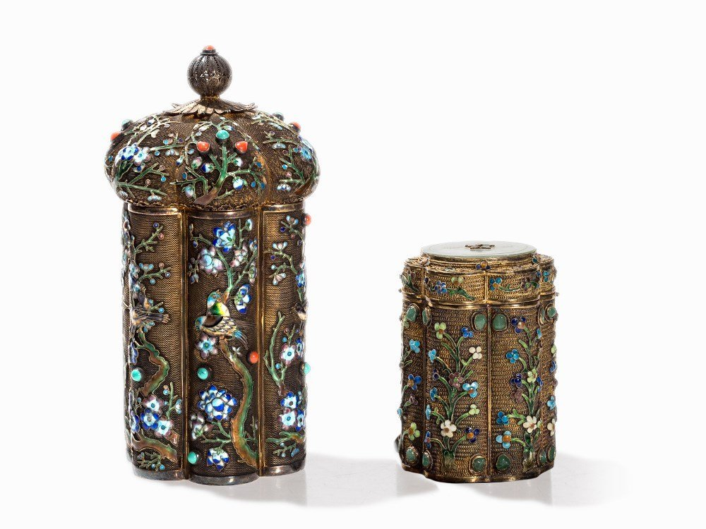 Two Champlevé Boxes with Inlays of Gemstones and Glas,