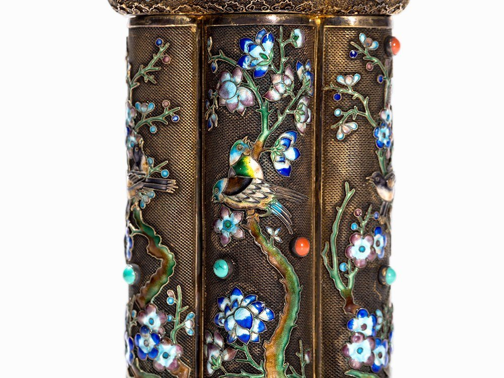Two Champlevé Boxes with Inlays of Gemstones and Glas, - 2