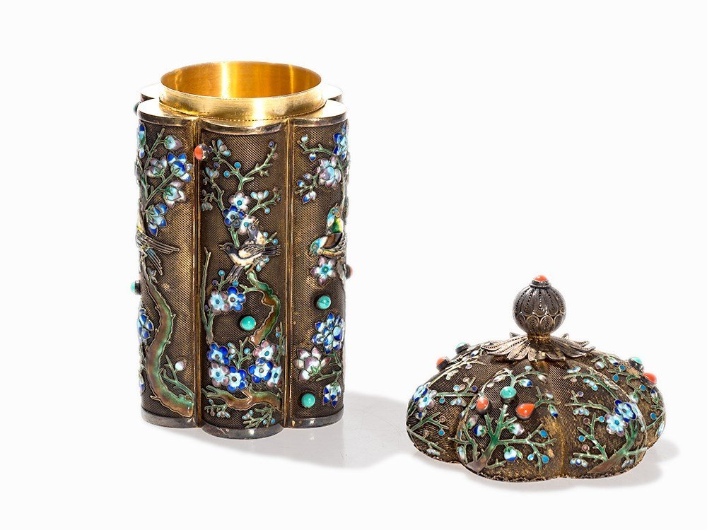 Two Champlevé Boxes with Inlays of Gemstones and Glas, - 7