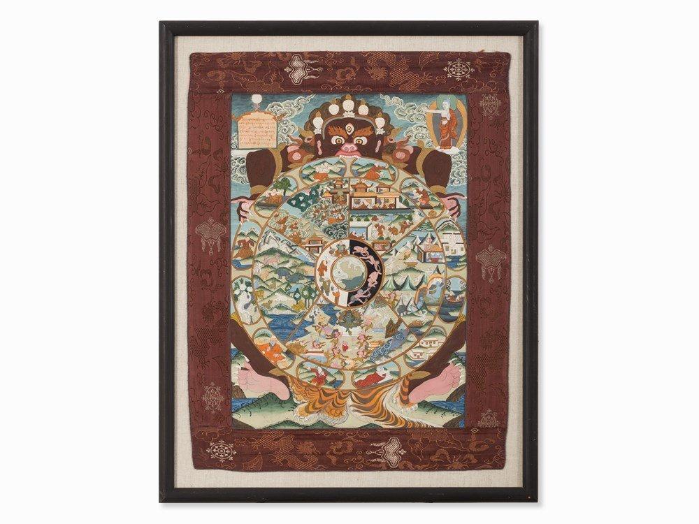 Thangka with Bhavacakra, Tibet, 20th C