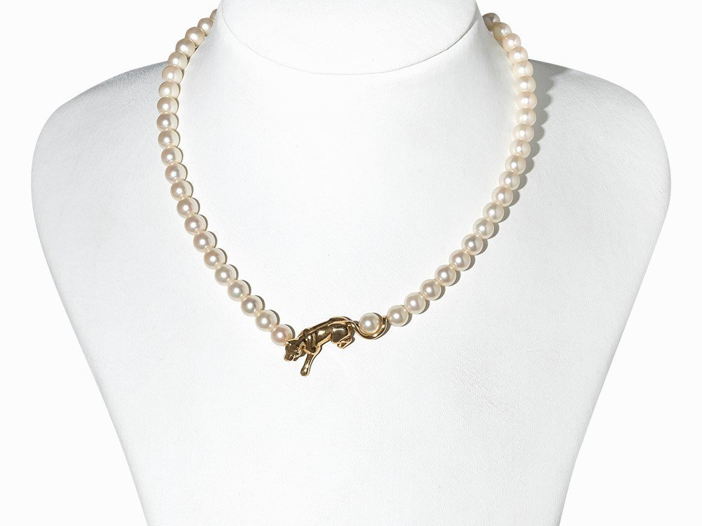 Cartier Akoya Pearl Necklace with Leopard Pendant, 18K