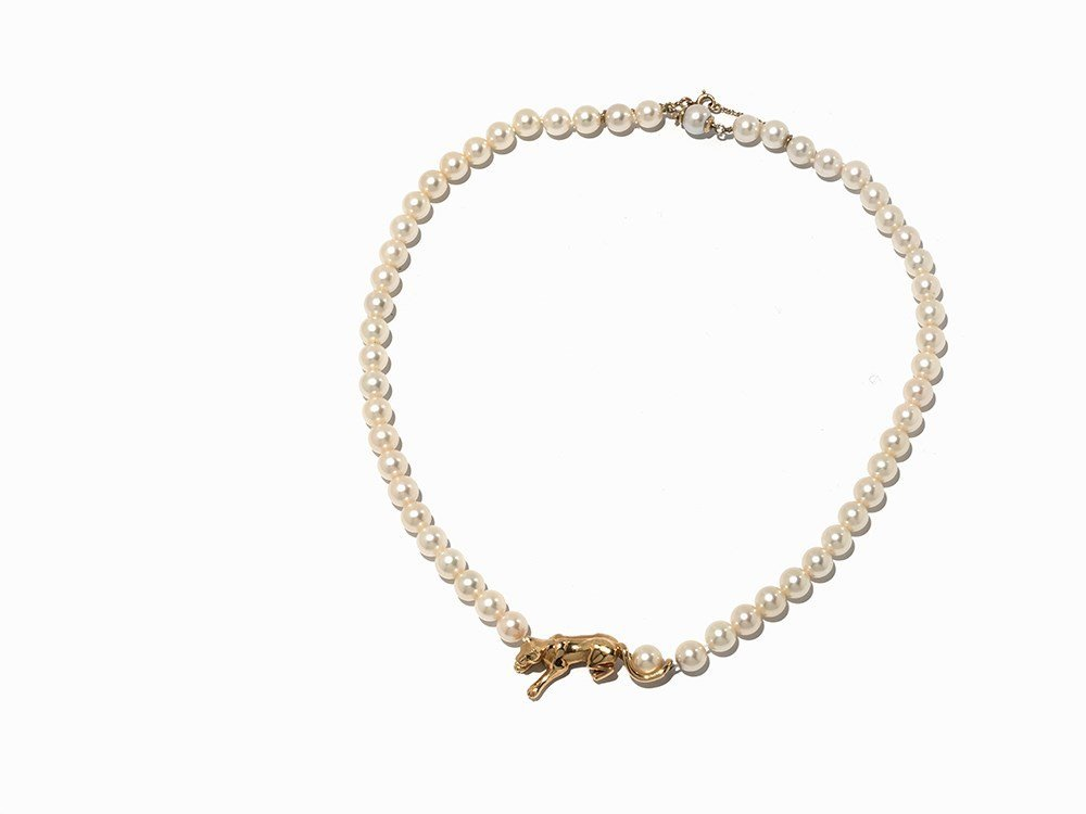 Cartier Akoya Pearl Necklace with Leopard Pendant, 18K - 8