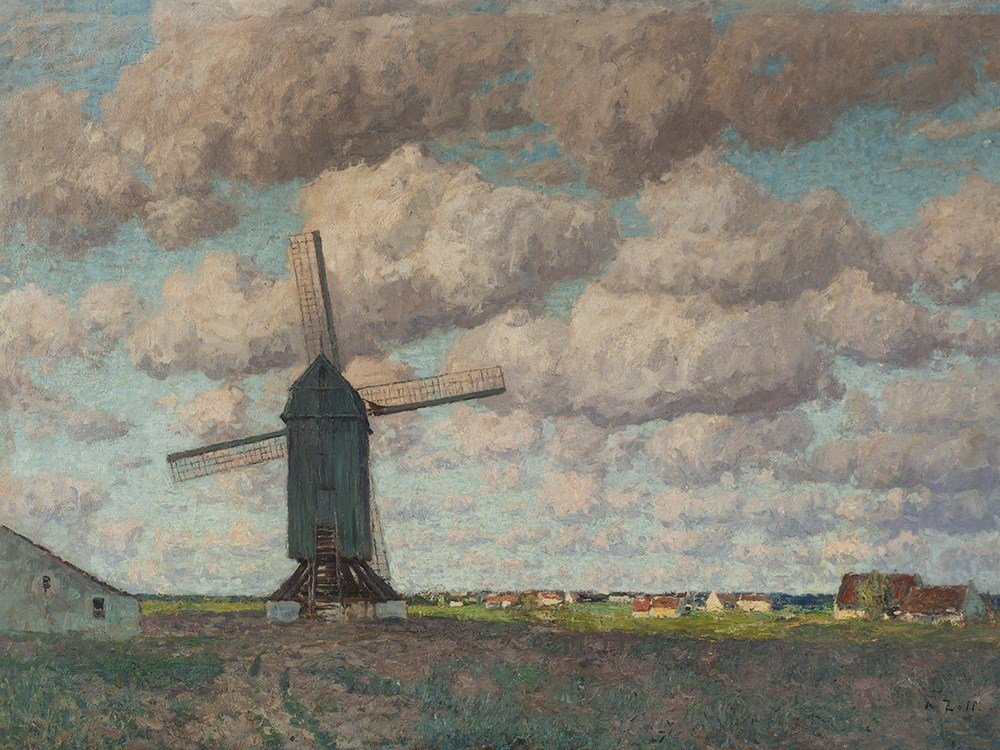 Alfred Zoff (1852-1927), Windmühle, Oil, around