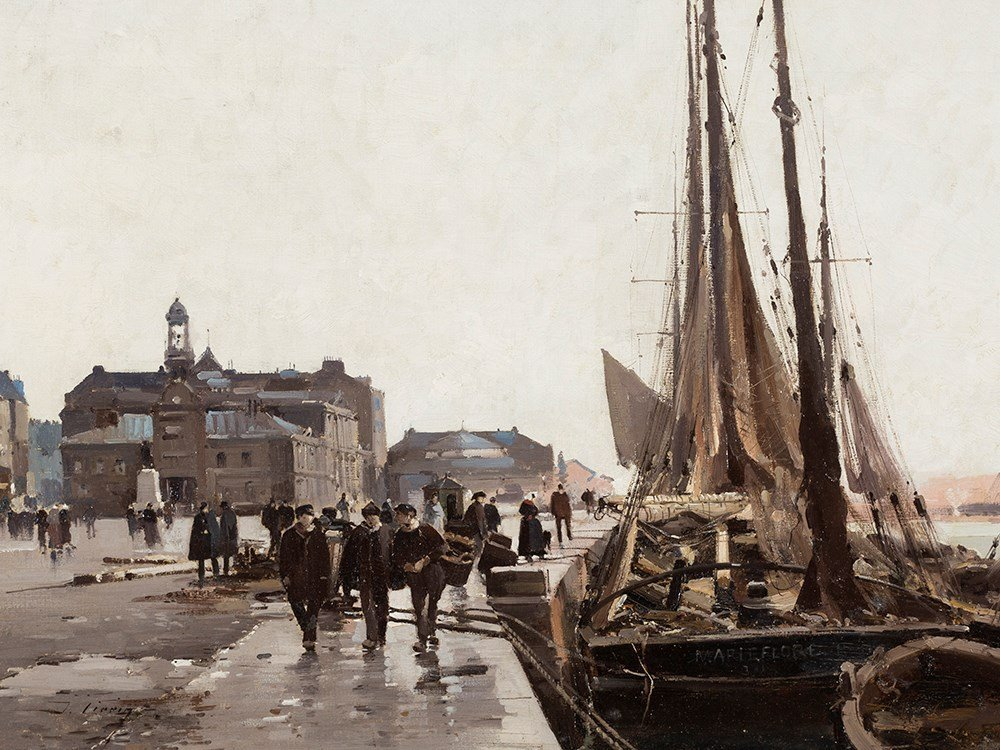 Eugène Galien-Laloue (1854-1941), Quais de Paris, Oil,