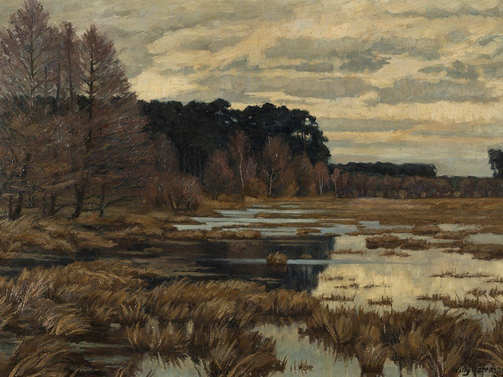Willy Herrmann (1895-1963), Moor Landscape, Oil, 1. H.