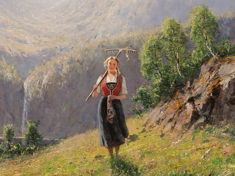 Hans Dahl (1849-1937), Girl in Summerly Fjord