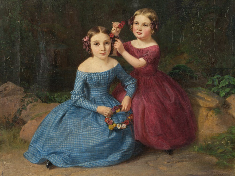 Joseph Hartmann (1812-1885), Children's Portrait, Oil,