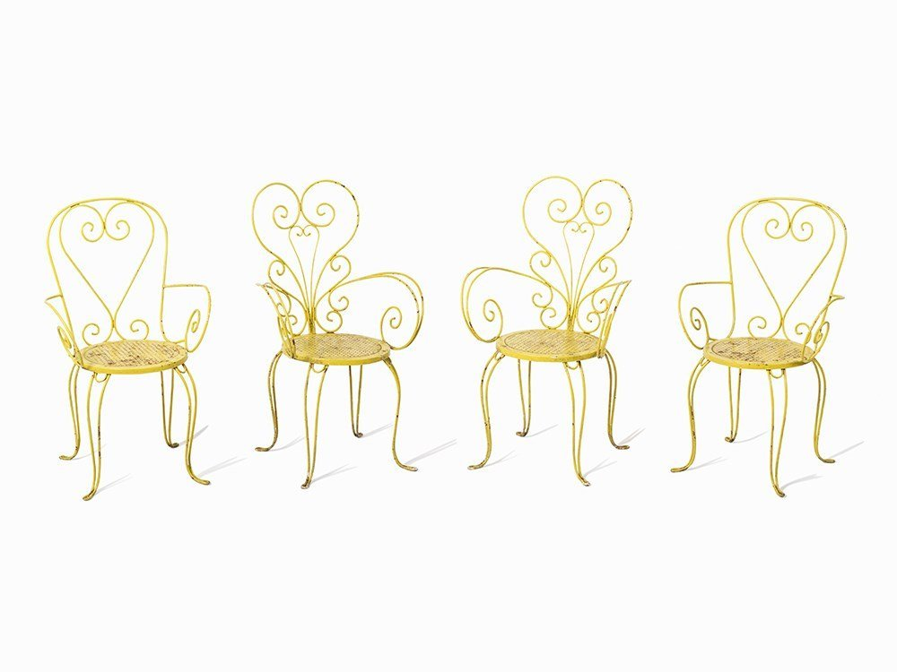 A Set of 4 Extraordinary Iron Garden Chairs, Italy,