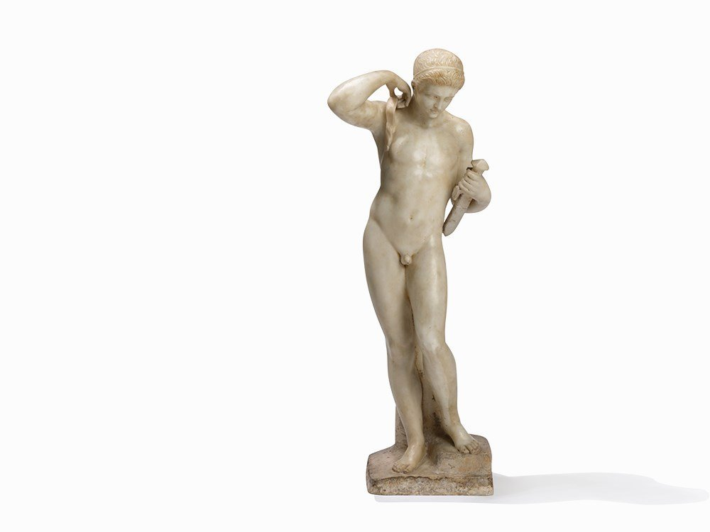 Alabaster Sculpture of a Young Man, Presumably Italy,