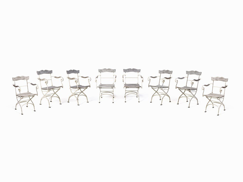 Set of 8 Extraordinary Iron Garden Chairs, Italy,