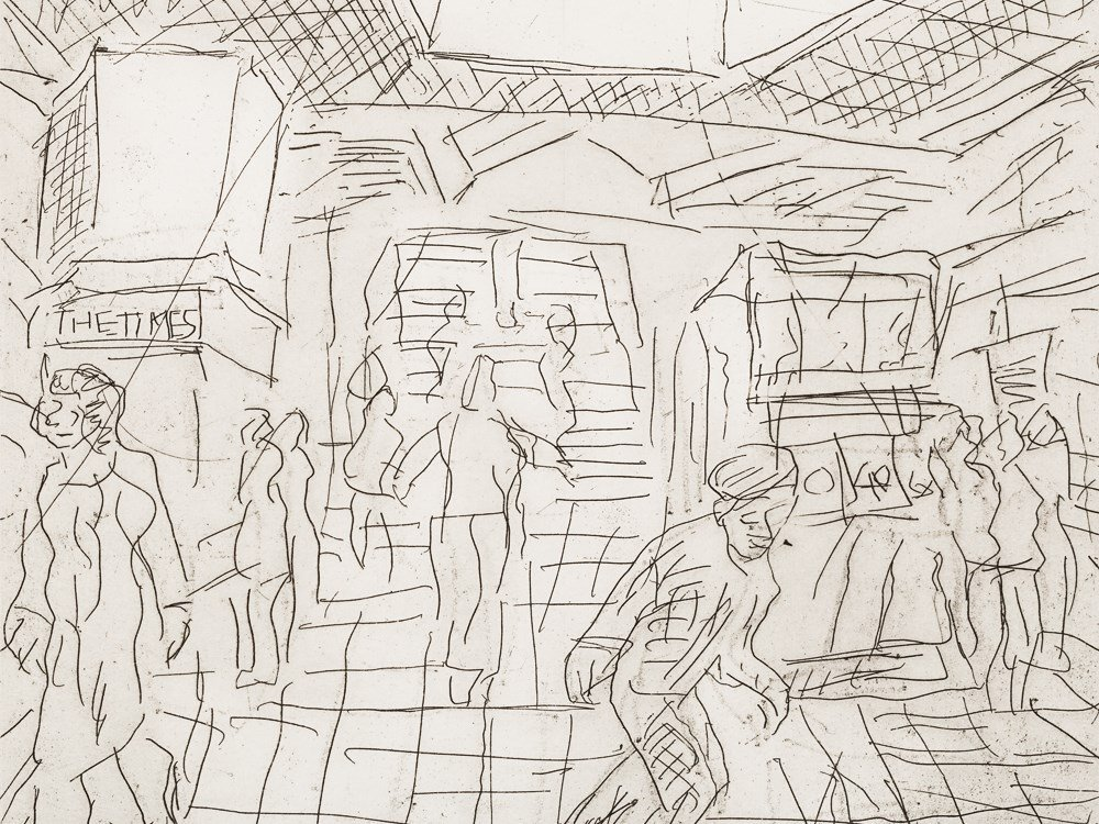 Leon Kossoff, The Booking Hall, Etching, 1982