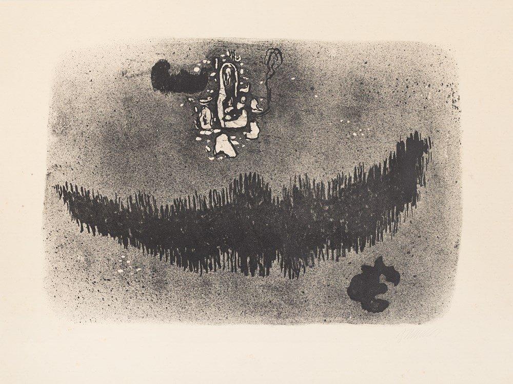 Willi Baumeister, Mit schwarzer Form, Lithograph, 1954