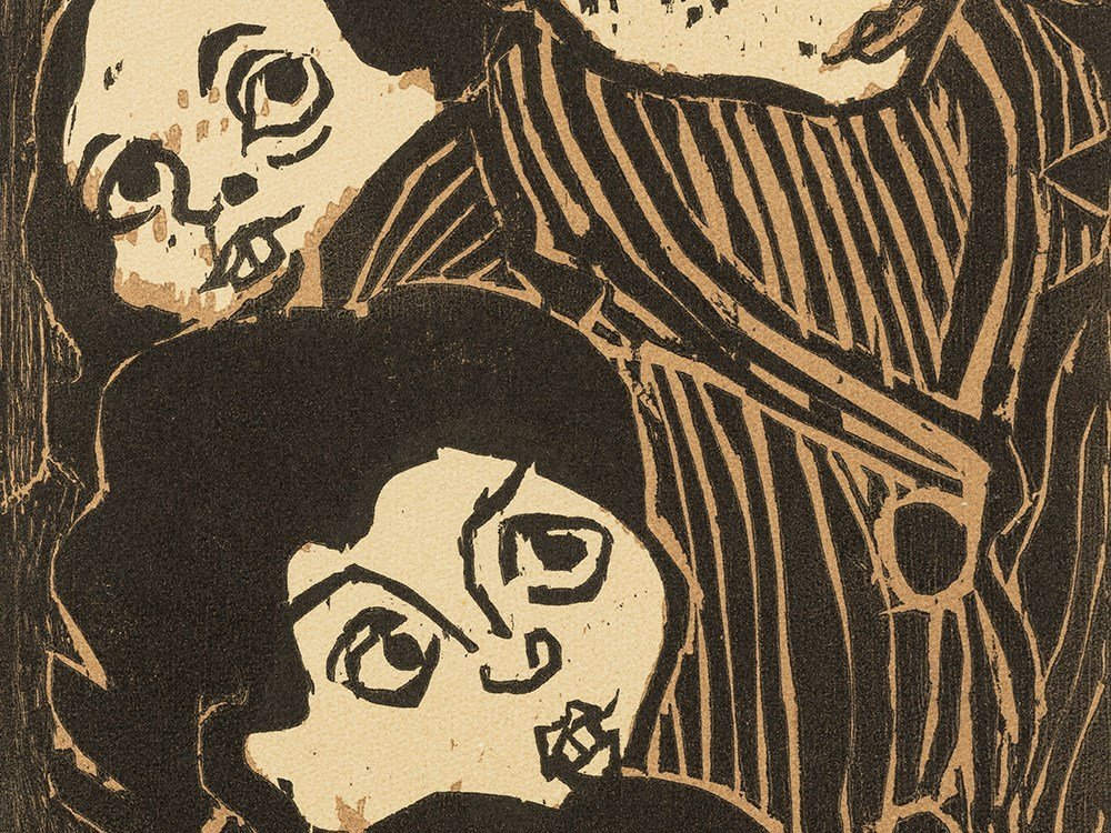 Otto Pankok, Lauschende Kinder, Woodcut in Colors, 1947